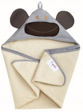 3sprouts серая обезьяна полотенца с капюшоном для детей сложен