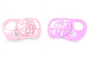 Розовая и фиолетовая пустышка twistshake от 6 месяцев