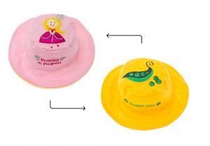 Розовая и жёлтая солнцезащитная панамка для малыша