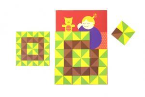 Картонная игра лото-паззл шуша лоскутное одеяло состоит из 44 карт