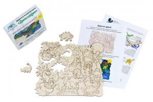 Деревянная мозаика МУМ Динозаврия для раскрашивания