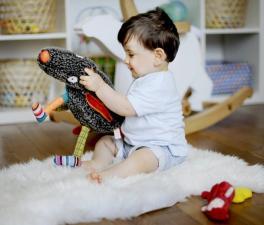 Малыш играет с игрушкой волк-обжора