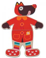Паззл одень волчонка в красном костюме