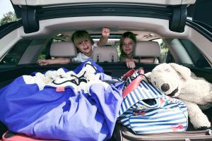 Дети в машине с мешком play-and-go classic синий