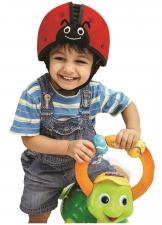 Ребёнок в шапке-шлем safeheadbaby красный